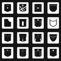 Pocket types icons set squares vector