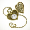 Pocket watch in the form of heart with an engraving i love you Stock Photography