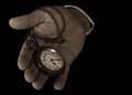 Pocket watch in hand hold look time detail Royalty Free Stock Photos