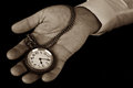 Pocket watch in hand hold look time detail duotone Royalty Free Stock Images