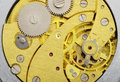 Pocketwatch mechanism close up of with gears Stock Photo