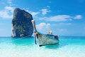 Poda island fishing thai boat and landmark at krabi province andaman sea south of thailand Royalty Free Stock Images