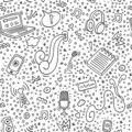 Podcast doodle pattern with computer, microphone, headphones,phone, notebook outline. Online education and podcasts background. Royalty Free Stock Photo