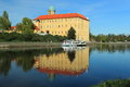 Podebrady chateau reflecting in elbe river czech republic Stock Photo