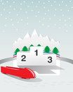 Podium bobsleigh on winter game Stock Photography