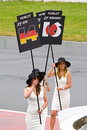 Podium Girls parading at Montreal Grand prix Stock Photos