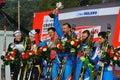 The podium in Milan team sprint Race Stock Image