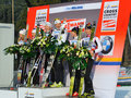 The podium in Milan team sprint Race Stock Images