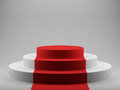 Podium with red carpet d render of Royalty Free Stock Image