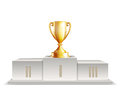 Podium winners with Golden trophy cup Royalty Free Stock Photo