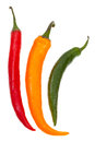 Pods of different hot peppers isolated on white background Stock Images