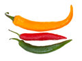 Pods of different hot peppers three isolated on white background Royalty Free Stock Photography