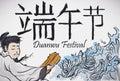 Poet Qu Yuan and the River for Duanwu Festival, Vector Illustration