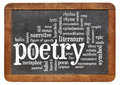 Poetry word cloud on an isolated vintage blackboard Stock Photo