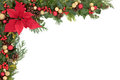Poinsettia flower border christmas and winter floral with decorations natural holly mistletoe and ivy over white background Stock Image