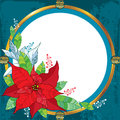 Poinsettia flower or Christmas Star with round frame in gold on the textured background. Traditional Christmas symbol. Royalty Free Stock Photo