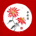 Poinsettia hand drawn with ink on red background. Christmas star flower. Traditional oriental ink painting sumi-e, u-sin Royalty Free Stock Photo