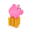 Point coins piggy bank at the top of the Stock Images