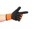 Point finger in black rubber glove isolated on a white background Stock Photos