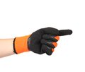 Point finger in black rubber glove isolated on a white background Royalty Free Stock Images