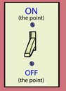 On the point a light switch with an and off for staying project goal Royalty Free Stock Photo
