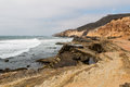 Point Loma, California Eroded Cliffs and Tide Pools. Royalty Free Stock Photo