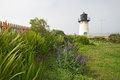 Point montara fog signal and light station with flowers the off of california highway approximately miles south of san francisco Stock Photography