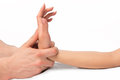 Point professional massage hands close up Royalty Free Stock Photo