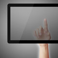 Point on tablet pc hand pointing gradually varied background Royalty Free Stock Image