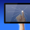 Point on tablet pc hand pointing with net gradually varied background Stock Photography