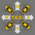 Point taxi stand top view. 3d rendering Royalty Free Stock Photo