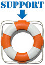 Point to lifebuoy support find help arrow points lifesaver symbol for finding and information Stock Images