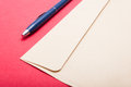 Point of view of envelop and pen on office table Royalty Free Stock Photo