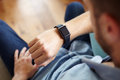 Point Of View Shot Of Man Wearing Smart Watch Royalty Free Stock Photo