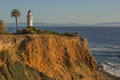 Point vincente lighthouse with view of catalina island in the background Stock Photography