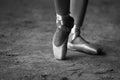 Pointe shoes dancing ballerina feet in Stock Photos