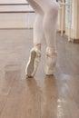 Pointe shoes photo ballerina en body legs Royalty Free Stock Photography