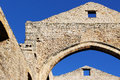 Pointed arches, stone walls, middle ages Royalty Free Stock Photo