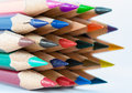 Pointed color pencils and a white background Stock Photo