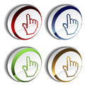 Pointer - cursor of hand on the button Royalty Free Stock Photos