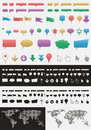 Pointers vector set of various map icons and Royalty Free Stock Photography
