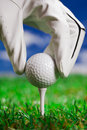 Pointing ball on golf field! Royalty Free Stock Photos