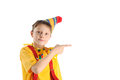 Pointing clown boy Royalty Free Stock Photo