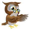 Pointing Cute Cartoon Owl Royalty Free Stock Image