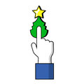 Pointing finger on Christmas tree button. Human hand on Christmas symbol.