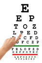 Pointing hand and eyesight test chart isolated on white background Stock Photos