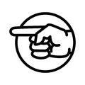 Pointing Hand icon in circle - vector iconic design