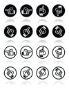 Pointing hand up down across round icon vector icons set of in circle on white Stock Image