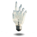 Pointing light bulb human hand Royalty Free Stock Images