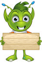 Pointy eared alien character a cartoon illustration of a cute little green with ears Stock Photo